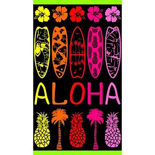 Strandhanddoek/badhanddoek, XXL, Banzai Aloha, meerkleurig, 100 x 175 cm, 100% katoen, hoogwaardig