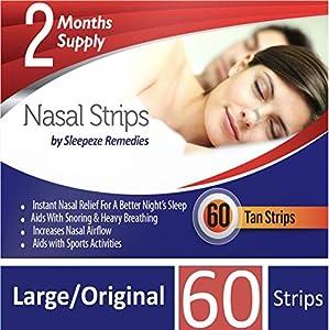 Tiras nasales grande x60 Sleepeze Remedies tiras para no roncar, tiras nasales contra los ronquidos, tiritas antironquidos para respirar mejor