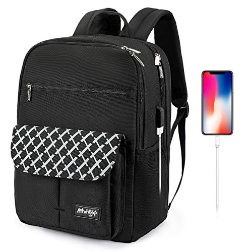 Arrontop Waterproof Backpack Travel College Bookbags Fits 15.6 inch Laptop with USB Charging Port Computer Bag for Women and Men (Black)