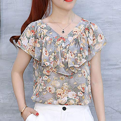 Blusas de Verano Camisas de Mujer Tallas Grandes Tops Florales Blusa de Gasa con Volantes de Manga Corta para Mujer XXXL Gris
