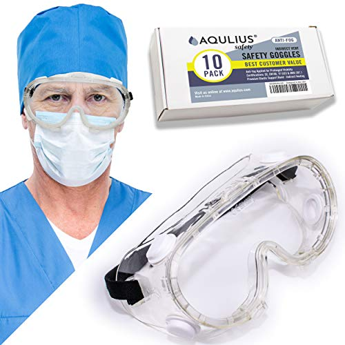 10 Pack of Lab Safety Goggles (10 Pack Protective Goggles) Indirect Ventilation with Crystal Clear Anti-Fog Design – Impact & Chemical Splash Resistant – Perfect For Laboratories, Biology & Chemistry