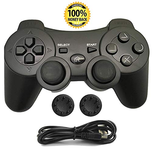 PS3 Controller, Wireless Bluetooth Gamepad Double Vibration Six-Axis Remote Joystick for Playstation 3 with Charging Cord (Black)
