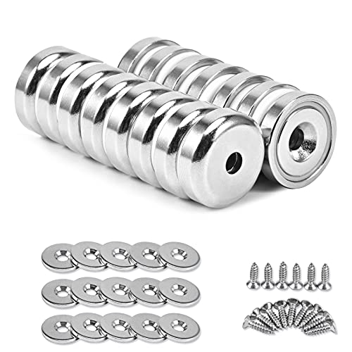 Anksixx Neodym Scheiben Magnete, 15 Stück Super Stark Neodym Disc Senkkopf Loch Magnete, 20 x 6 mm Versenkte Topfmagnete, Permanent Rare Earth Magnet mit Stahlbecher und Schraube