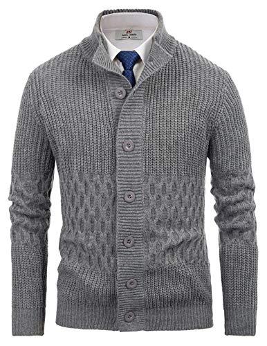 Men's Casual Stand Collar Cardigan Sweater Premium Knitted Outwear M Dark Grey