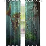YUAZHOQI - Cortinas de ventana con sirena y caballito de mar, diseño mágico de cuento de hadas...