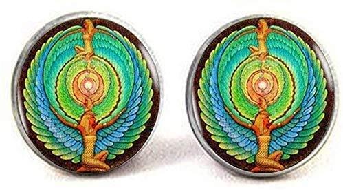 Pendientes de cristal egipcio, símbolo de escarabajo de cristal, joyería de arte fotográfico