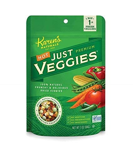 Karen's Naturals Hot Just Veggies, 3 Ounce Pouches, Keto Friendly All Natural Freeze Dried Vegetables, Vegan, Paleo, Gluten Free, Healthy Dried Veggie Snacks with No Additives or Preservatives, Dairy Free, Non-GMO
