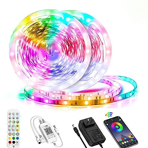 MINGRT Tira LED Exterior Impermeable, Bluetooth Tiras LED RGB Con Control Remoto, Temporizador, Sincronización De Música, 16 Millones De Colores Light Strip Para Cocina TV Fiesta Decorativas