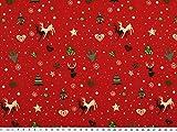 ab 1m: Deko-Weihnachtsstoff, Baumwolle, rot, 140cm breit