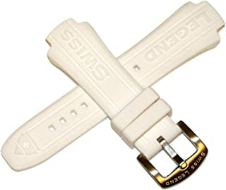 Swiss Legend 17MM White Silicone Rubber Watch Strap & Silver Stainless Buckle fits 40mm Neptune Watch