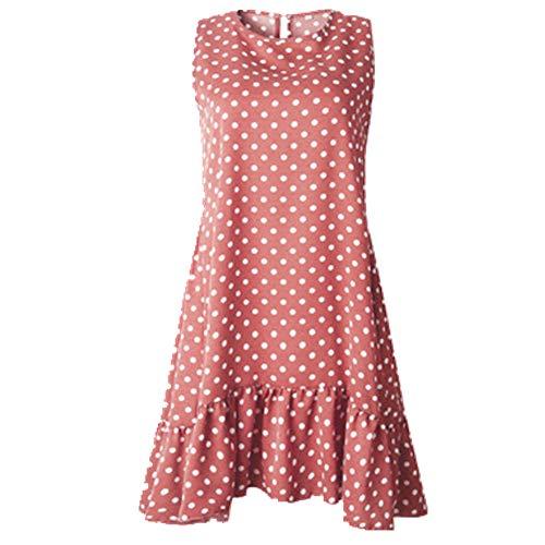 N\P Vestido de mujer con volantes para primavera y verano Rosa. XXXXL