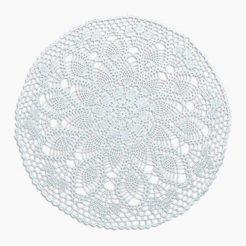 Y-Step Handgefertigte Tischdecke, Tischsets, Häkelmuster, Baumwolle mit Spitze, rund, 61 cm, weiß