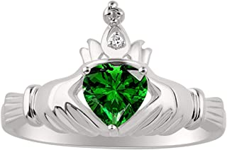 RYLOS CLADDAGH Claddah Love, Loyalty & Friendship Ring Ring with Heart Shape Simulated Emerald and Genuine Diamond in Sterling Silver or 14K Yellow Gold Plated Silver .925-6MM Color Stone