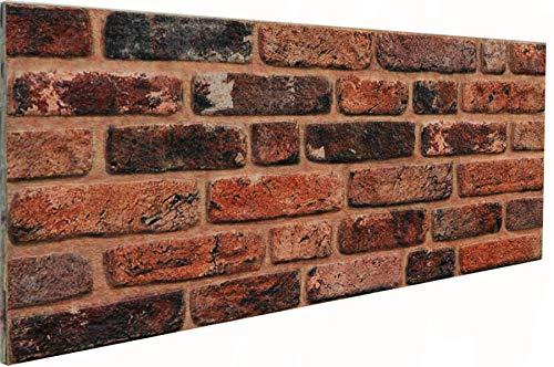 3D Wandverkleidung Wandpaneel aus Styropor in Steinoptik für Wohnzimmer, Küche, Terrasse oder Schlafzimmer - Ziegeleffekt - 100 cm x 50 cm x 2 cm, Typ 130