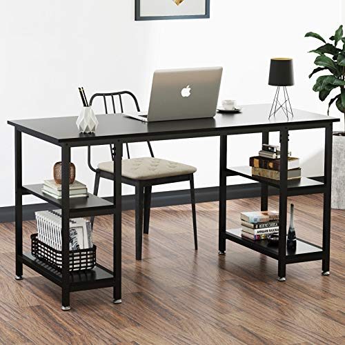 Computer Desk with Shelves - 120cm Wooden Student Study Desk for Home Office, Modern Sturdy Table Office Desk with 4 Tier Storage Shelves for Small Spaces, Black