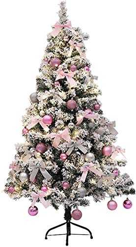 Christmas Tree Mini Christmas Tree Artificial Snow Flocked Zippered Christmas Pine Tree Metal Stand, Foldable Christbaum Ornaments Christmas utenciles (Color : A, Size : 90cm/3ft)