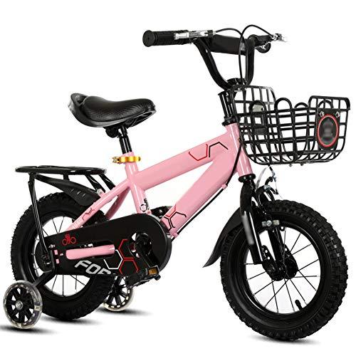 YHDP Jungen Mädchen Fahrrad Für Kinder,2-7 Jahre Alt Mit Trainingsrädern Und Handbremse Kinder Fahrrad,High-end Verstellbare Sitze Cruiser Bike Rosa E 14inch