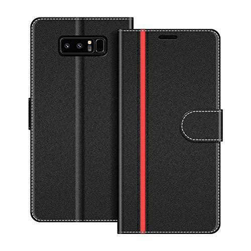 COODIO Handyhülle für Samsung Galaxy Note 8 Handy Hülle, Samsung Galaxy Note 8 Hülle Leder Handytasche für Samsung Galaxy Note 8 Klapphülle Tasche, Schwarz/Rot