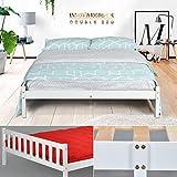 Cadre de lit en pin massif - Espace tiroir sous le lit - Blanc DOUBLE BED FRAME...