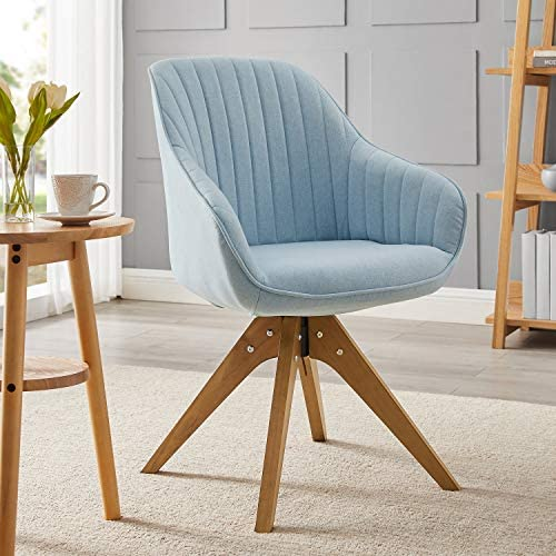Best Art Leon Mid-Century Modern Swivel Accent Chair Candy Green with Wood Legs Armchair for Home Office