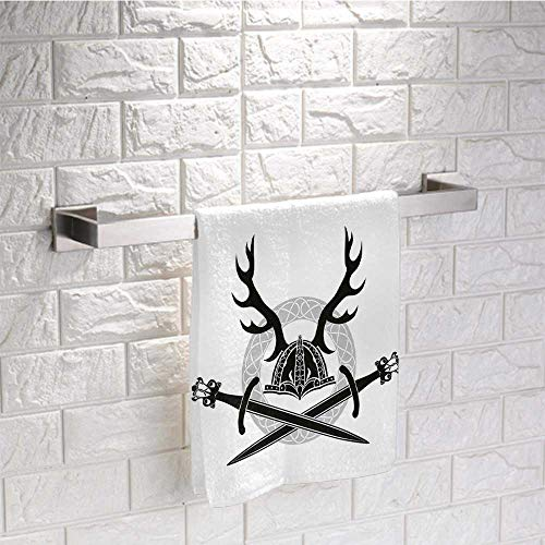 DayDayFun Antler Decor Custom Towel Helmet with Antlers and Viking Swords Celtic Circle Medieval Barbarian Pattern Towels Bathroom Sets Size 12'x28' Black White Silver