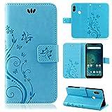 betterfon | Xiaomi Mi A2 Lite Hülle Flower Hülle Handytasche Schutzhülle Blumen Klapptasche Handyhülle Handy Schale für Xiaomi Mi A2 Lite Blau