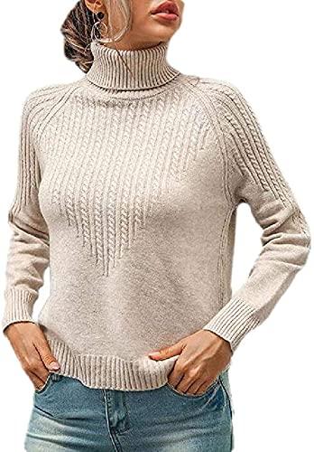 Tegerri Suéter de manga larga con cuello alto y cuello alto para mujer