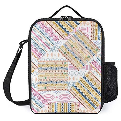 Bolsa de almuerzo con aislamiento térmico portátil con correa para el hombro, bolsa de almuerzo, contenedor de alimentos, paquete de comida, bolsa de conservación de calor, impermeable, reutilizable para niños y adultos, unisex