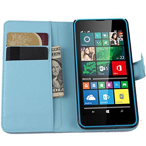 Ycloud Tasche für Microsoft Lumia 640 Dual-SIM Hülle, PU Ledertasche Flip Cover Wallet Hülle Handyhülle mit Stand Function Credit Card Slots Bookstyle Purse Design blau