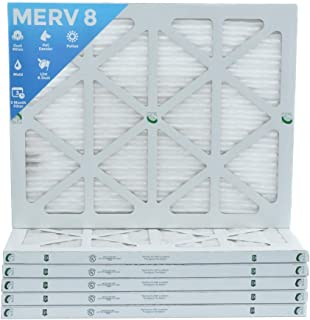 18x25x1 Merv 8 Pleated AC Furnace Air Filters. Box of 6