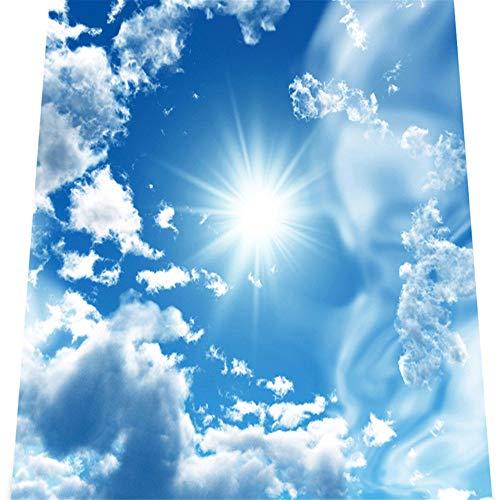 Mrlwy Papel tapiz murales estereoscópicos personalizados 3D Blue Sky White Clouds Shining Sun 3D PVC Autoadhesivo Papel de pared para dormitorio-190X130CM