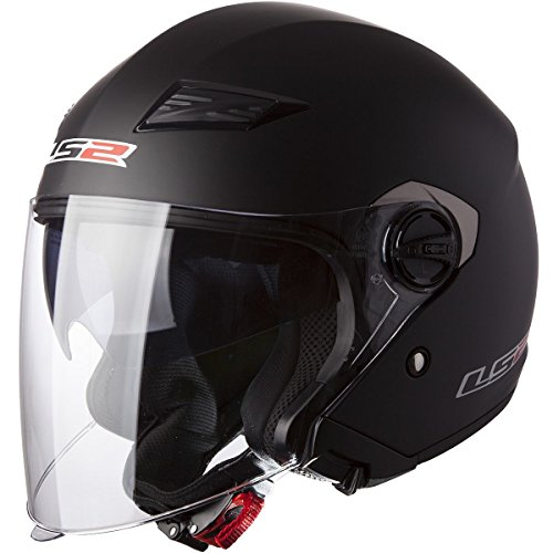 LS2 Helmets 569-3014 Track Solid Open Face Motorcycle Helmet with Sunshield (Matte Black, Large)