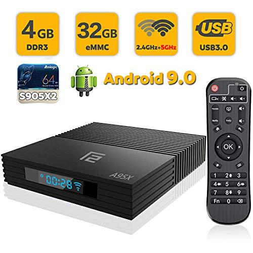 SUNNZO F2 Android 9.0 OS TV BOX con Procesador Amlogic S905X2,Quad Core de 64 Bits 4GB RAM+32GB ROM,WiFI de Doble Banda 2.4GHz+5GHz,USB3.0,4K HD,H.265 (4+32GB)