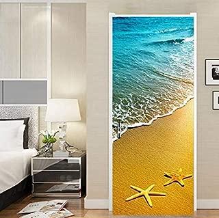 FLFK 3D Starfish Ocean Beach Wallpaper Door Mural Wall Stickers for Home Decoration Vinyl Removable Decals 30.3x78.7 inch