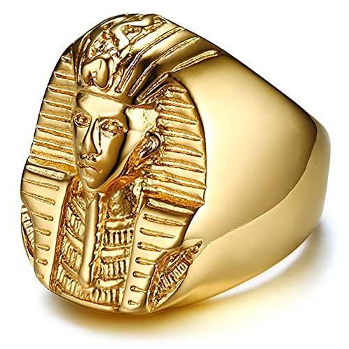 Anillo Punk De Acero Inoxidable Chapado En Oro Accesorios De Motocicleta Rock De Oro Hechos por El Faraón Egipcio para Hombres,11