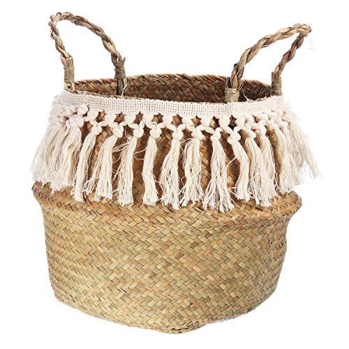 honghaier Seagrass Storage Basket for Decoration Laundry Basket Woven Basket Gift Handmade Tassel Vase Garden Flower Pot With Handle