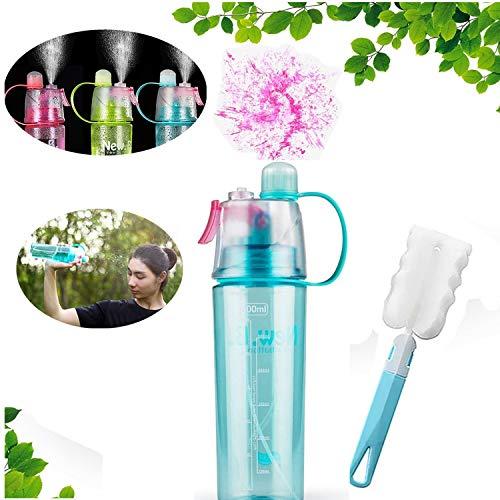 uhmhome Botella de Agua con pulverizador para Beber y vaporizar, Doble función, con pulverizador para Interior y Exterior, para hidratación y enfriamiento, 400ml, Azul