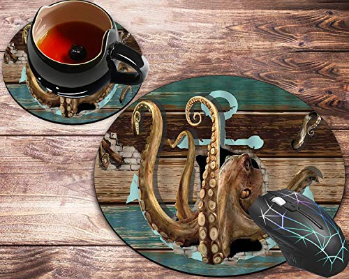 Round Mouse Pad and Coaster Set, Octopus Giant Tentacles Sea Monster with Anchor Logo Vintage Shabby Wooden Board Pirate Ship Mousepad, Non-Slip Rubber Base Gaming Mouse Pads for Working Or Game