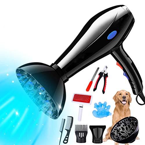 YLXD Mascotas Secador De Pelo - Útiles De Limpieza para Perro Gato De Alta Potencia Secador De Pelo Y Estética para Mascotas, Ultra Silencioso De Diseño,Luz Azul