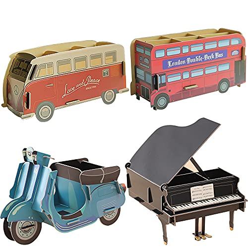 Komake Niños Portalápices, 4 Modelos Autobús Organizador de Escritorio para Lápices Piano Negro Portalápices Multifuncional Organizador locomotora Estuche Papel Escritorio Pencils