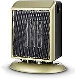 Delgeo Mini Calentador Ceramico 400W/900W PTC, Calefactor Bajo Consumo, Modo de Viento Cálido/Natural, Operación de Ahorro de Energía para Sala de Estar, Oficina - Dorado
