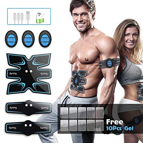 OSITO Abs Stimulator EMS Muscle Toner Abdominal Trainer with 10 Extra Gel Pads Electric Wireless Workout Equipment for Home Office Travel Exercises Device