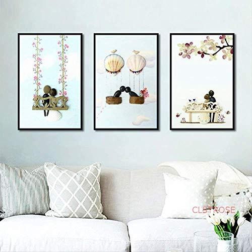 LWJZQT Canvas afdrukken 3 stuks Nordic Poster en Print Minimalistische creatieve kopstenen pleisters liefde schilderen decoratie abstract cartoon muurkunst canvas