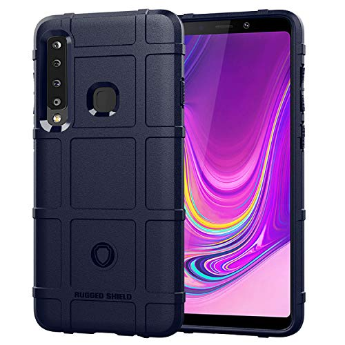 cuzz Case voor SAMSUNG Galaxy S8 /S8 Lite.with [ Tempered Glass Screen Protector] Robuuste Shield Koolstofvezel TPU materiaal Hybride Schokbestendig Volledige Beschermende Bumper Case, Hybride behuizing, SAMSUNG A9 2018/A920F/A9S, Blauw