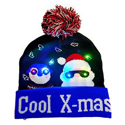 KKPLZZ Sombrero de Navidad LED, Gorro de Punto de Navidad Iluminado para Adultos, Sombrero de Alce de muñeco de Nieve de árbol de Navidad para decoración navideña de Año Nuevo