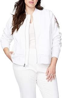 RACHEL Rachel Roy Womens RMUJ003916W Plus Size Embroidered Bomber Jacket Denim Jacket - White
