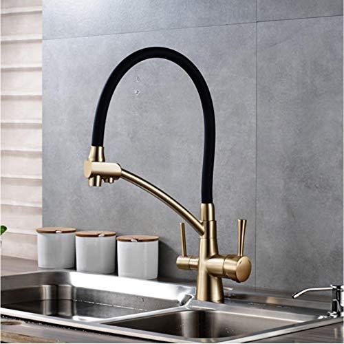 LLLYZZ Keukenreiniging Flexibele gedraaide keukenkraan met twee uitloop en twee grepen mengkraan warm- en koudwatermengkraan