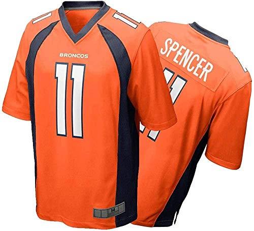 FFZH Equipos Populares Camiseta de Rugby # 11 Camiseta de fútbol Americano Camiseta de Deporte y Fitness de Manga Corta Transpirable Serigrafiada para Hombre-Medium_Orange-Naranja_Extragrande
