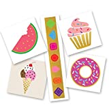 SUGAR FIX VARIETY SET of 25 assorted sweet treat inspired premium waterproof colorful metallic gold & silver jewelry temporary foil party Flash Tattoos, metallic tattoo, gold tattoo, kids tattoo