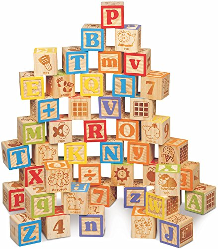 Maxim Deluxe Wooden ABC Blocks. Extra-Large Engraved Baby Alphabet Letters, Counting & Building...